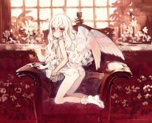Rating: Questionable Score: 18 Tags: ass dress koishikawa_kohane loli long_hair nopan oyari_ashito period polychromatic red_eyes sketch skirt_lift socks white_hair wings User: BattlequeenYume