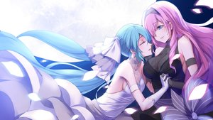 Rating: Safe Score: 45 Tags: 2girls aqua_hair blue_eyes breasts cleavage dress hatsune_miku headdress long_hair megurine_luka mikoto_(mio) pink_hair see_through shoujo_ai sideboob tears vocaloid wedding_attire User: mattiasc02