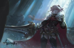 Rating: Safe Score: 66 Tags: all_male armor astolfo cape dress fang fate/apocrypha fate_(series) garter_belt kang_kang_zi male pink_eyes pink_hair stockings sword thighhighs trap weapon User: otaku_emmy