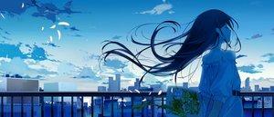 Rating: Safe Score: 92 Tags: ashima black_hair building city clouds dress flowers long_hair original petals rooftop scenic sky User: RyuZU