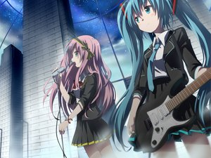 Rating: Safe Score: 96 Tags: gochou_(comedia80) guitar hatsune_miku instrument megurine_luka microphone twintails vocaloid User: HawthorneKitty