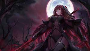 Rating: Safe Score: 96 Tags: chowbie dark fate/grand_order fate_(series) long_hair moon night purple_hair red_eyes scathach_(fate/grand_order) sky spear tree weapon User: BattlequeenYume