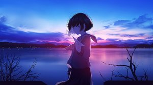 Rating: Safe Score: 81 Tags: aircraft black_hair clouds dark landscape mifuru original paper polychromatic scenic seifuku short_hair sky sunset water User: sadodere-chan