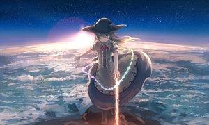 Rating: Safe Score: 19 Tags: blue_hair brown_eyes clouds dress hat hinanawi_tenshi long_hair magic mifuru sky sword touhou weapon User: RyuZU