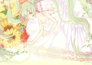 Rating: Safe Score: 51 Tags: flowers green_hair hatsune_miku long_hair music sketch twintails vocaloid yuzhi User: humanpinka
