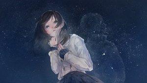 Rating: Safe Score: 132 Tags: blue_eyes blush brown_hair mizutame_tori original skirt sky stars User: Flandre93