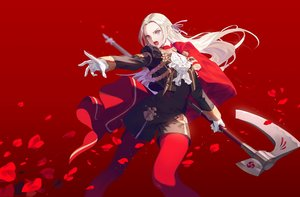 Rating: Safe Score: 70 Tags: blue_eyes cape edelgard_von_hresvelg fajyobore323 fire_emblem gloves long_hair pantyhose petals red shorts uniform weapon white_hair User: Dreista