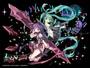 Rating: Safe Score: 35 Tags: 2girls animal_ears black dress green_eyes green_hair hatsune_miku headphones kaku-san-sei_million_arthur logo long_hair mintchoco music purple_hair red_eyes skirt square_enix thighhighs tie twintails vocaloid watermark User: BattlequeenYume