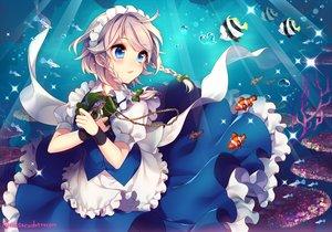 Rating: Safe Score: 84 Tags: animal blue_eyes blush braids bubbles fish headband izayoi_sakuya maid masaru.jp touhou underwater water watermark wristwear User: Flandre93