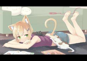 Rating: Safe Score: 196 Tags: animal animal_ears barefoot blonde_hair cat catgirl collar green_eyes inu_(kuroinu0720) original short_hair shorts tail User: SciFi