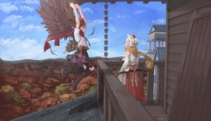 Rating: Safe Score: 43 Tags: 2girls animal_ears brown_hair building clouds dress feathers forest hat himekaidou_hatate inubashiri_momiji japanese_clothes katana kneehighs long_hair miko scarf short_hair skirt sky sword tagme_(artist) touhou tree weapon white_hair wings wolfgirl User: BattlequeenYume