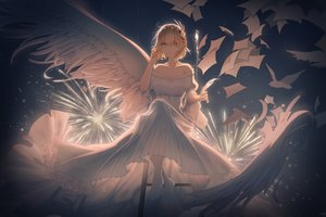 Rating: Safe Score: 86 Tags: animal anthropomorphism aqua_eyes bird blonde_hair dress eyepatch feathers fireworks lingmuqianyi paper prince_of_wales short_hair wings zhanjian_shaonu User: Fepple