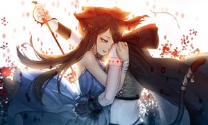 Rating: Safe Score: 74 Tags: 2girls animal_ears bandage dress ebon original sword tail tattoo weapon User: mattiasc02
