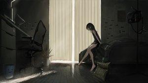 Rating: Safe Score: 89 Tags: barefoot bed black_hair computer dark dress kagumanikusu long_hair original User: BattlequeenYume