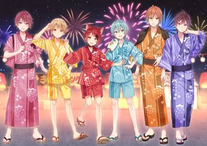 Rating: Safe Score: 11 Tags: aliasing all_male animal_ears aqua_eyes aqua_hair bicolored_eyes blonde_hair blue_eyes brown_eyes brown_hair catboy collar fan fang festival fireworks fukahire_sanba green_eyes japanese_clothes male orange_eyes red_hair short_hair shorts summer yukata User: otaku_emmy