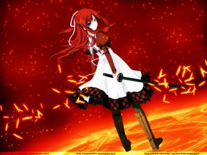 Rating: Safe Score: 68 Tags: 11_eyes kusakabe_misuzu red red_hair signed sword weapon User: anaraquelk2