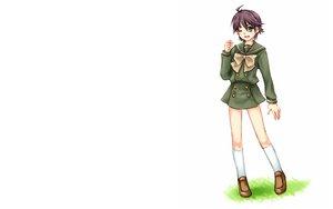 Rating: Safe Score: 9 Tags: blue_hair bow ogata_matake purple_hair school_uniform shakugan_no_shana short_hair socks white User: Umbra