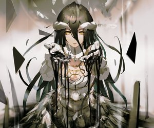 Rating: Safe Score: 175 Tags: albedo black_hair breasts cleavage cropped demon elbow_gloves gloves horns long_hair overlord so-bin succubus wings yellow_eyes User: RyuZU