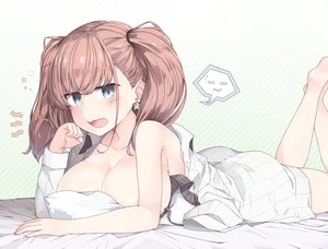 Rating: Questionable Score: 72 Tags: anthropomorphism ass atlanta_(kancolle) blue_eyes blush bra breasts brown_hair kantai_collection no_bra twintails underwear yui_(seiga) User: BattlequeenYume