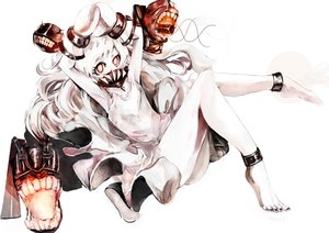 Rating: Safe Score: 35 Tags: barefoot kantai_collection northern_ocean_hime red_eyes ubw-emiya white_hair User: FormX