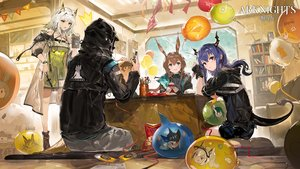 Rating: Safe Score: 52 Tags: alchemaniac amiya_(arknights) animal_ears aqua_eyes arknights blue_hair brown_hair bunny_ears ch'en_(arknights) doctor_(arknights) gloves green_eyes group horns kal'tsit_(arknights) logo long_hair male ponytail short_hair shorts tail white_hair User: Nepcoheart