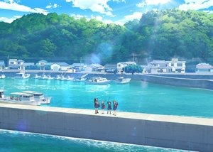 Rating: Safe Score: 39 Tags: boat building clouds houkago_teibou_nisshi scenic school_uniform skirt sky tagme_(artist) tagme_(character) water User: RyuZU