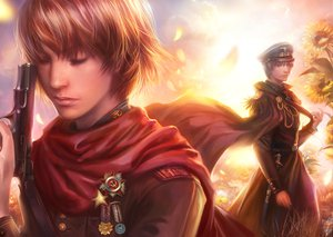 Rating: Safe Score: 43 Tags: axis_powers_hetalia gun prussia_(hetalia) realistic russia_(hetalia) sunflower sword uniform weapon User: AliceWonderWorld