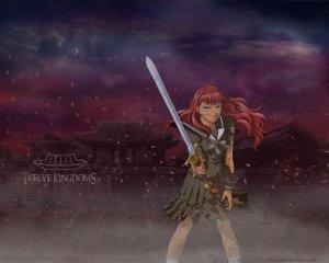 Rating: Safe Score: 10 Tags: dark green_eyes juuni_kokuki nakajima_youko petals red_hair school_uniform skirt sword weapon User: acucar11