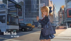 Rating: Safe Score: 51 Tags: artoria_pendragon_(all) bianyuanqishi blonde_hair building capsule_servant car city fate_(series) fate/stay_night green_eyes master_artoria ponytail school_uniform shade short_hair skirt sky User: FormX