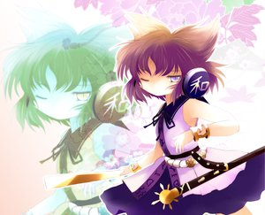 Rating: Safe Score: 25 Tags: brown_hair flowers headphones purple_eyes sword touhou toyosatomimi_no_miko weapon yume_shokunin zoom_layer User: PAIIS