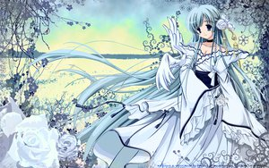 Rating: Safe Score: 51 Tags: animal bird blue_eyes blue_hair breasts carnelian choker cleavage clouds dress flowers japanese_clothes katase_nano long_hair ribbons wings User: Oyashiro-sama