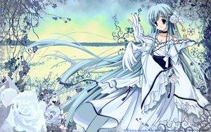 Rating: Safe Score: 51 Tags: animal bird blue_eyes blue_hair breasts carnelian choker cleavage clouds dress flowers japanese_clothes katase_nano long_hair ribbons wings User: Oyashiro-sama