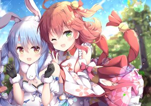 Rating: Safe Score: 48 Tags: 2girls animal_ears bell blush braids bunny_ears bunnygirl gloves green_eyes hololive japanese_clothes long_hair miko niwasane_(saneatsu03) sakura_miko signed sky twintails usada_pekora wink User: BattlequeenYume