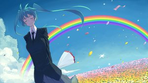 Rating: Safe Score: 43 Tags: clouds hatsune_miku kasuga_ayumu_(artist) petals rainbow twintails vocaloid User: HawthorneKitty
