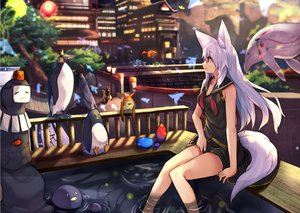 Rating: Safe Score: 35 Tags: aliasing animal animal_ears breasts building cleavage foxgirl haik long_hair original penguin red_eyes seifuku tail tree water white_hair User: otaku_emmy