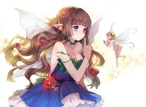 Rating: Safe Score: 184 Tags: blue_eyes brown_hair cleavage dress fairy flowers original sheska_xue wings User: opai