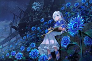 Rating: Safe Score: 18 Tags: aqua_eyes blush building city clouds dress flowers hat long_hair night original pi_(p77777778) sky stars sunflower white_hair windmill User: Fepple