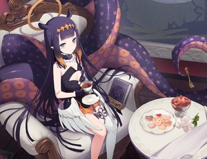 Rating: Safe Score: 85 Tags: book cropped drink flat_chest flowers food gloves halo hololive ikomochi long_hair ninomae_ina'nis pointed_ears purple_eyes purple_hair tentacles thighhighs wings User: otaku_emmy