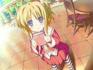 Rating: Safe Score: 13 Tags: blonde_hair blue_eyes blush book favorite game_cg happy_margaret! kokonoka minahase_karin school_uniform thighhighs User: 秀悟