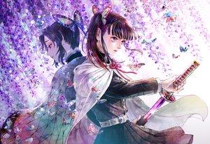 Rating: Safe Score: 30 Tags: butterfly cape flowers katana kimetsu_no_yaiba kochou_shinobu micho sword tsuyuri_kanao weapon User: FormX