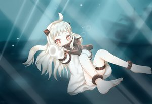 Rating: Safe Score: 79 Tags: axelcre barefoot blush bubbles dress gloves horns kantai_collection loli northern_ocean_hime red_eyes white_hair User: kokiriloz