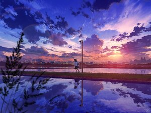 Rating: Safe Score: 60 Tags: building city clouds cropped mocha_(cotton) original reflection school_uniform short_hair signed skirt sky sunset tree water User: otaku_emmy