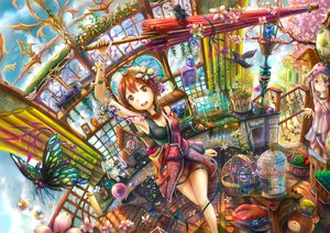 Rating: Safe Score: 49 Tags: 2girls animal bird blonde_hair breasts brown_eyes brown_hair building clouds dress fish flowers hat ian16 long_hair navel original purple_eyes ribbons short_hair sky stairs teddy_bear train umbrella water User: RyuZU