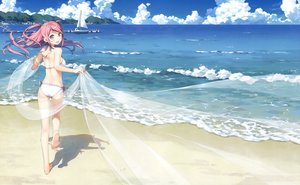 Rating: Safe Score: 211 Tags: ass barefoot beach bikini boat breasts clouds kantoku kurumi_(kantoku) long_hair original photoshop pink_eyes pink_hair scan sky swimsuit User: Dummy