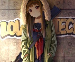 Rating: Safe Score: 160 Tags: brown_hair cropped graffiti gun hoodie kentaurosu long_hair original red_eyes school_uniform waifu2x weapon User: RyuZU