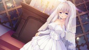 Rating: Safe Score: 90 Tags: blue_eyes game_cg kimihara_yua mikagami_mamizu pieces/wataridori_no_somnium wedding_attire whirlpool white_hair User: Arsy