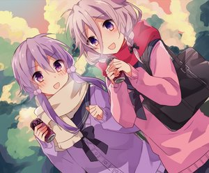 Rating: Safe Score: 20 Tags: 2girls drink ia scarf school_uniform vocaloid voiceroid yuruno yuzuki_yukari User: FormX