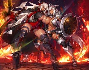 Rating: Safe Score: 45 Tags: 2girls armor breasts caenis_(fate) cleavage dark_skin fate/grand_order fate_(series) melon22 okita_souji_alter okita_souji_(fate) weapon User: FormX