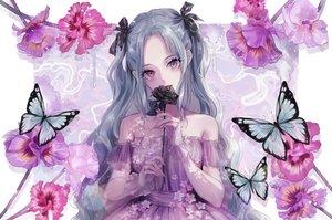 Rating: Safe Score: 88 Tags: aqua_hair butterfly dress flowers long_hair magako original purple_eyes tears twintails wristwear User: BattlequeenYume