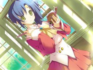 Rating: Safe Score: 8 Tags: blue_hair book favorite game_cg green_eyes happy_margaret! kokonoka nishinomiya_shizuru school_uniform skirt User: 秀悟